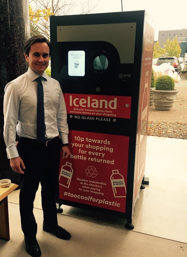 Richard Walker Managing Director of Iceland Foods with the RVM Systems Reverse Vending Machine at Iceland Foods Head Office