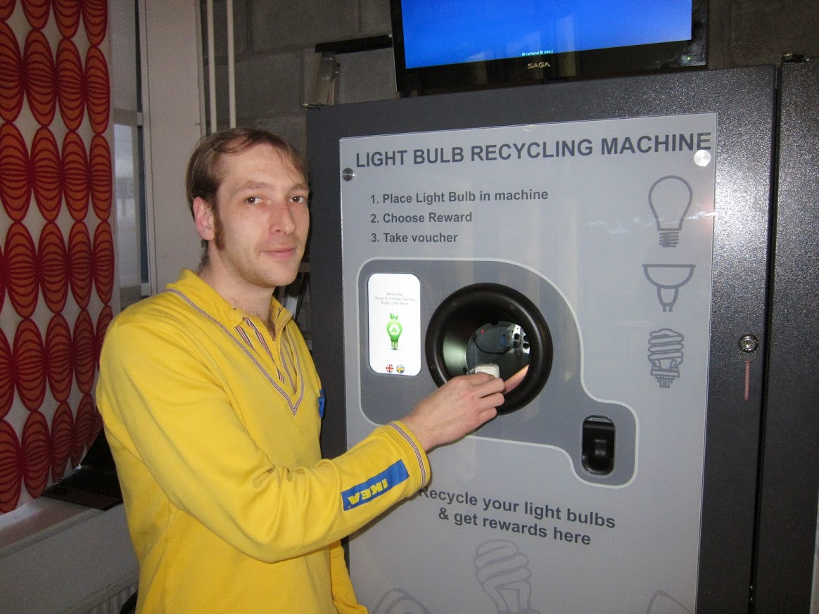 IKEA Wednesbury Birmingham reVend Light Bulb Reverse Vending Machine