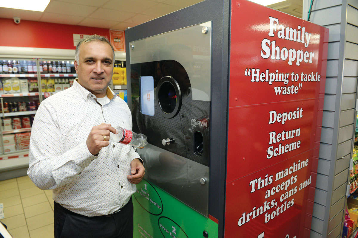"""Mo Razzaq, owner of Family Shopper Blantyre, South Lanarkshire, has reported """"no issues"""" with his newly installed reverse vending machine, which also accepts glass bottles"""