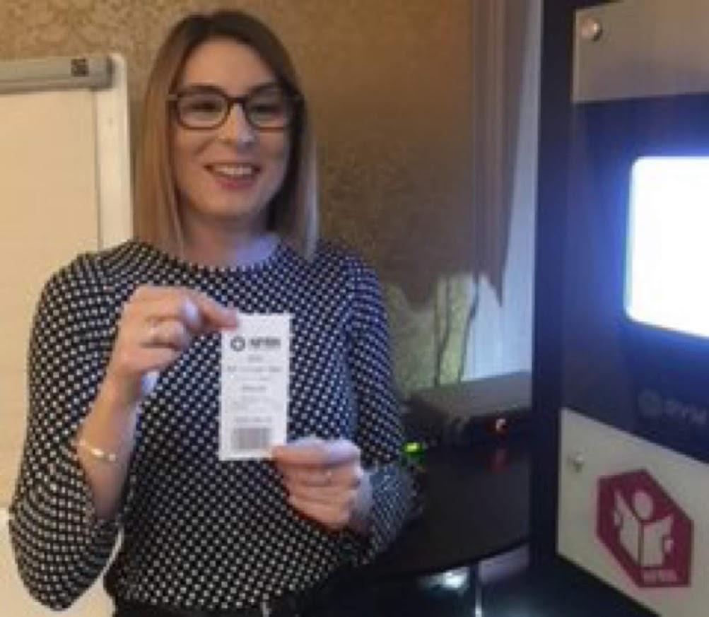 Megan using the NFRN Rvm Systems Reverse Vending