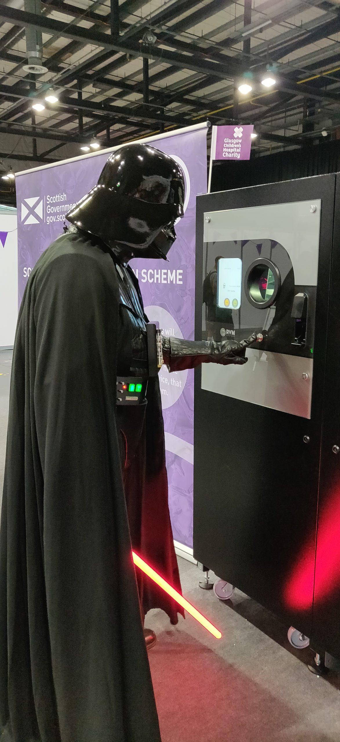 Darth Vader using Reverse Vending at Zero Waste Scotland Stand