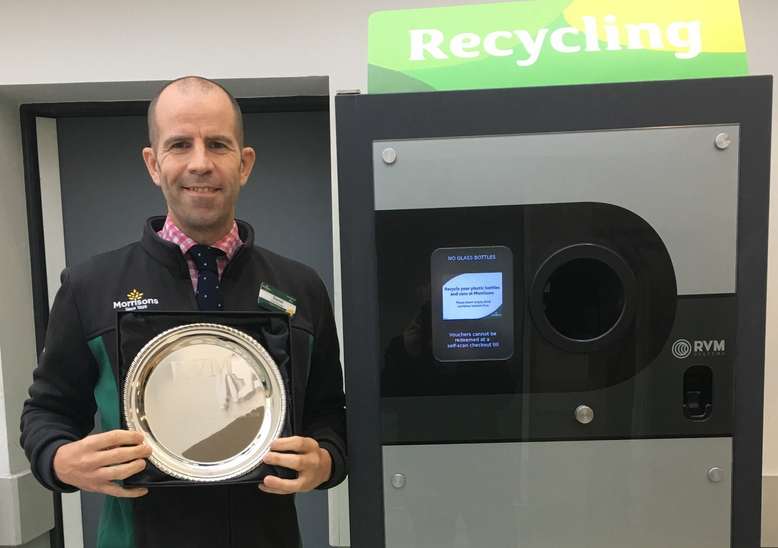 Morrisons Wood Green Store recycle over 250,000 used drink containers On the 9th of July 2019 RVM Systems presented an award to Morrisons Wood Green store manager Daniel Haffenden to celebrate that the store has recycled over 250,000 plastic drink bottles and drink cans since the 2nd of November 2018.