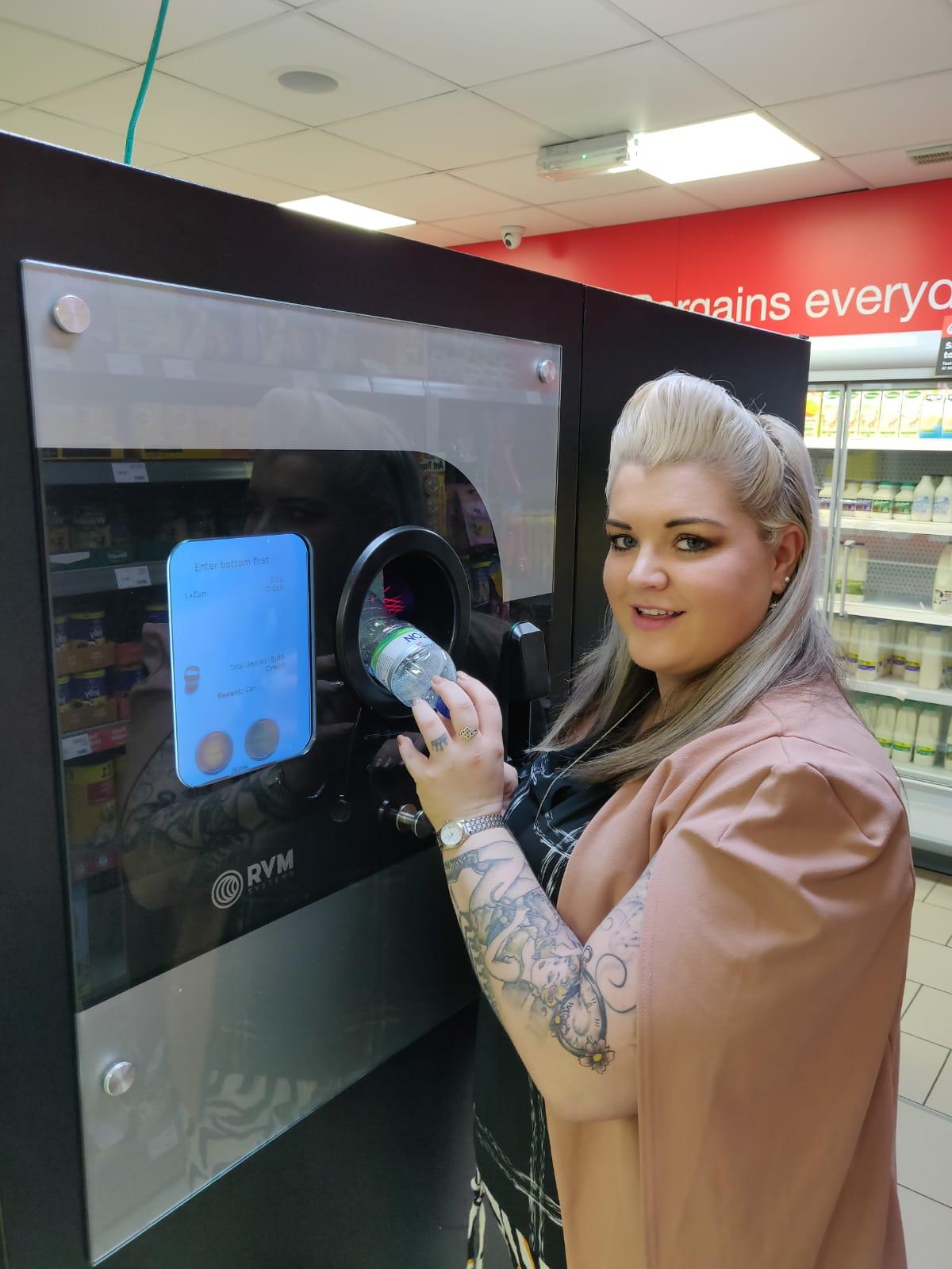 Stephanie Gray using the DRS ready Reverse Vending Machine