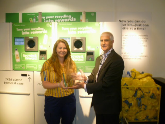 Left to right : Jim McShee – Scottish Sales Manager – Reverse Vending Corporation.Sofie Rogers Sustainability Responsible IKEA Edinburgh