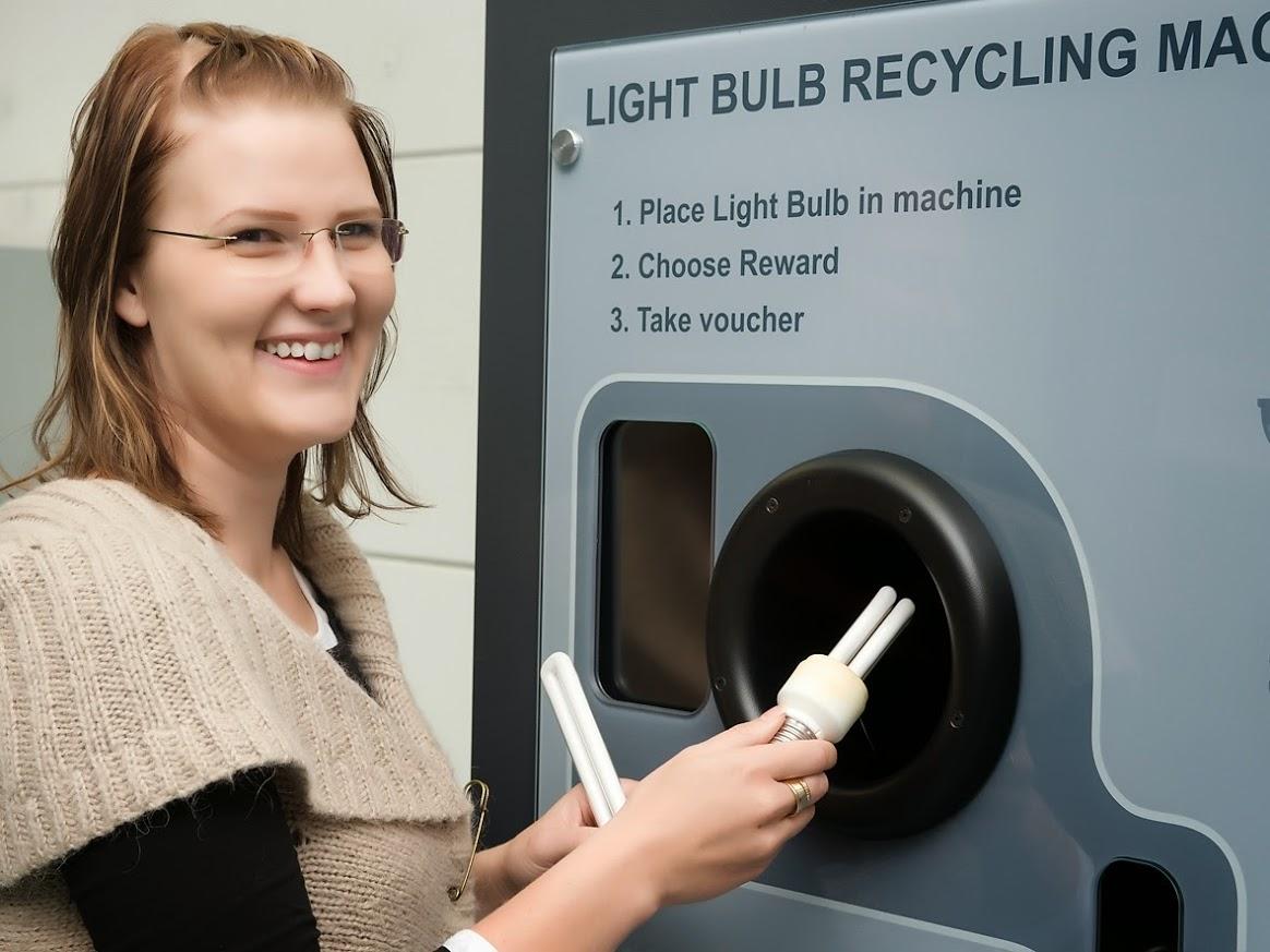 reVend Light Bulb Recycling Reverse Vending Machine