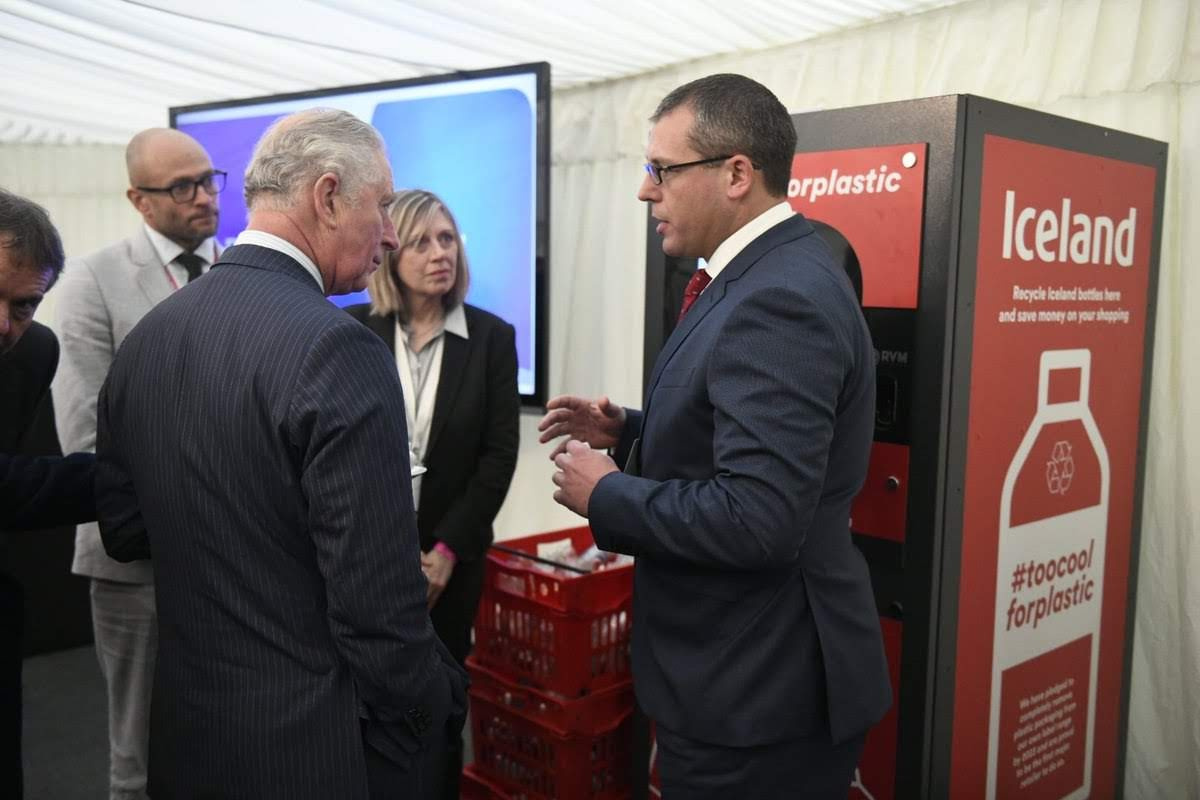 HRH Charles, Prince of Wales using the Iceland Foods Reverse Vending Machine