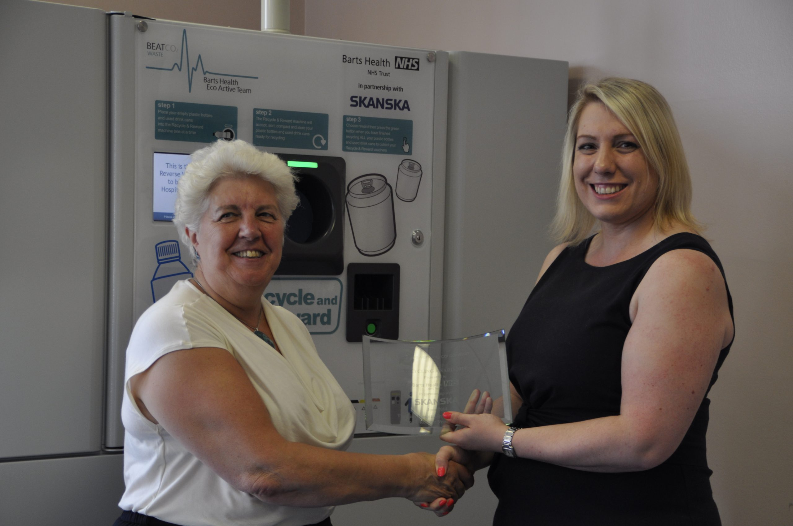 Fiona Daly receiving the Award for the First NHS Trust to install three Reverse Vending Machines