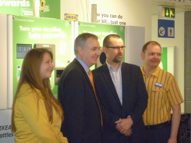 Sofie Rogers, responsible for store sustainability at IKEA; environment minister Richard Lochhead; Iain Gulland, director Zero Waste Scotland; and, Sean McArthur, food manager and sustainability manager for IKEA