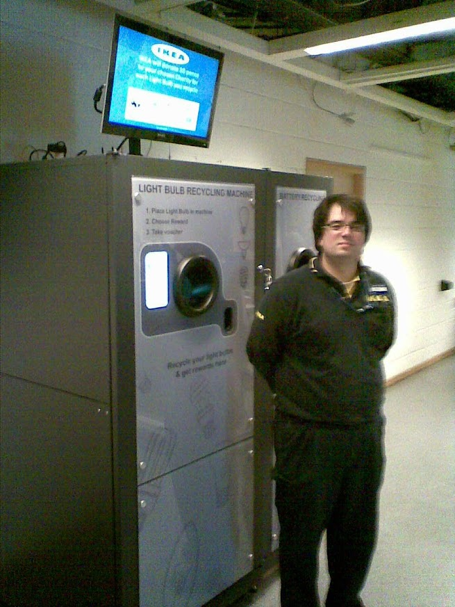 IKEA Wembley reVend Light Bulb Recycling Reverse Vending Machine with add on housing for portable batteries