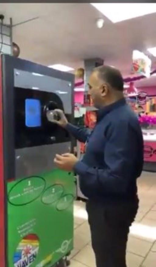 Mo Razzaq using his Reverse Vending Machine