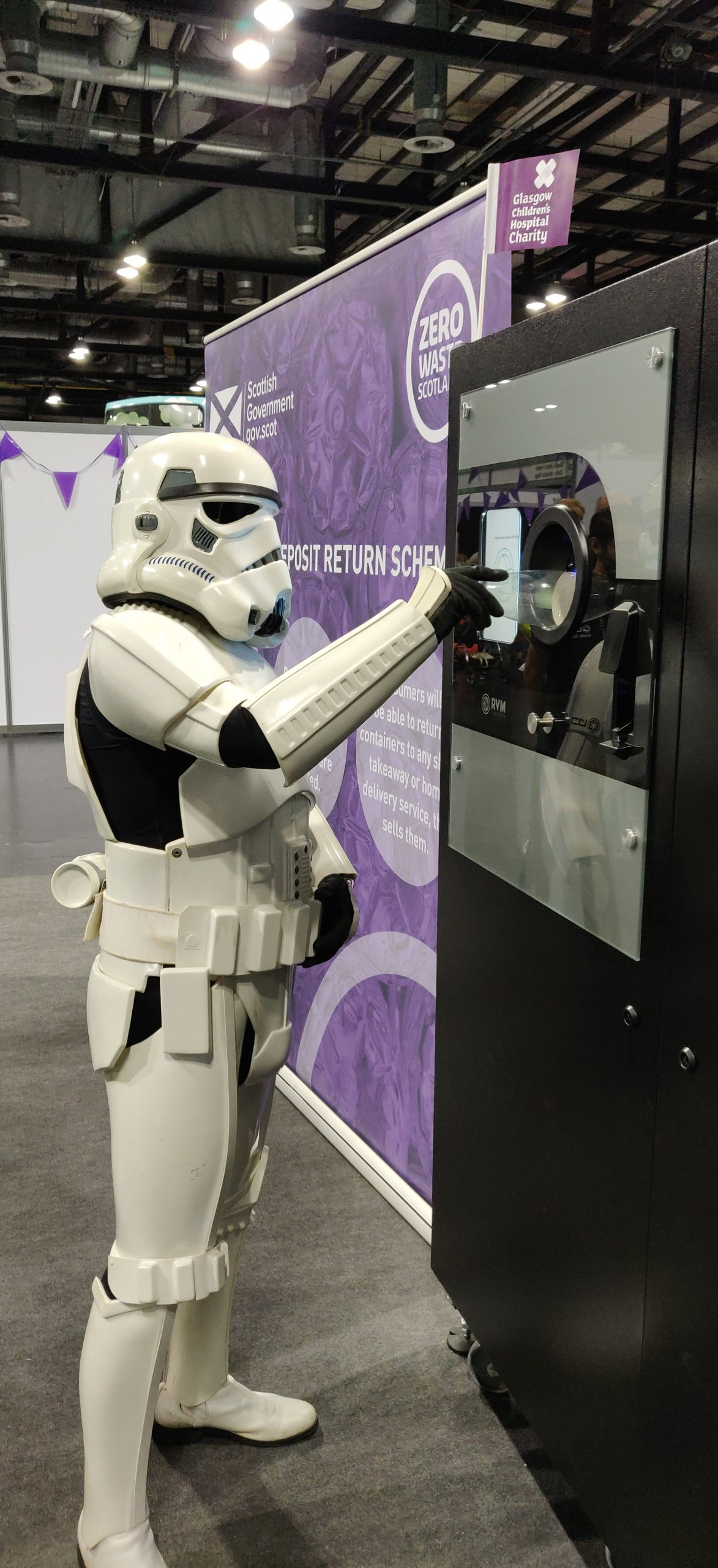 StormTrooper using the Reverse Vending at Zero Waste Scotland Stand