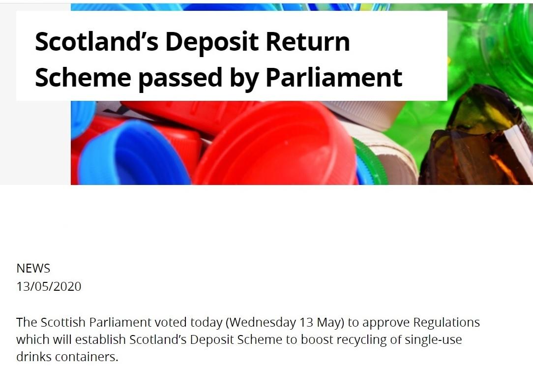 Scotland's Deposit Return Scheme passed by Parliament