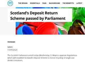 The Scottish Parliament voted today (Wednesday 13 May) to approve Regulations which will establish Scotland's Deposit Scheme to boost recycling of single-use drinks containers. The scheme will see people pay a 20p deposit on metal cans and PET plastic and glass bottles, refunded when they're returned for recycling. The final regulations, which were laid in the Scottish Parliament in March, maintain the ambitious approach to materials, with glass included alongside PET plastic and aluminium and steel. Following consultation with island communities, feedback from the Scottish Parliament's Environment Committee and stakeholder input, the Scottish Government made changes to the regulations. These include a commitment to review the performance of the scheme by October 2026, including the deposit level, materials and the collection targets.