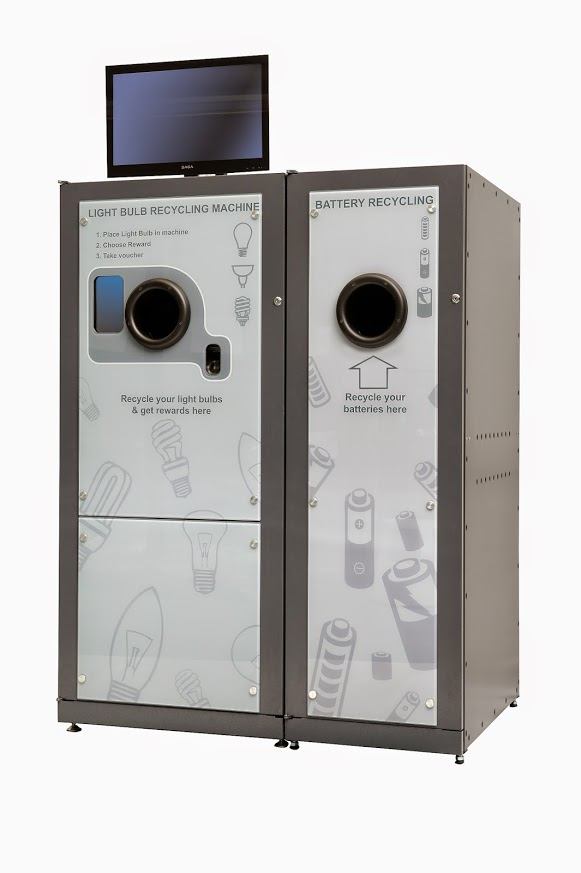reVend Light Bulb Recycling Reverse Vending Machine with add on housing for portable batteries