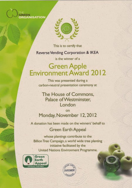 Our IKEA Reverse Vending won a coveted Green Apple Award