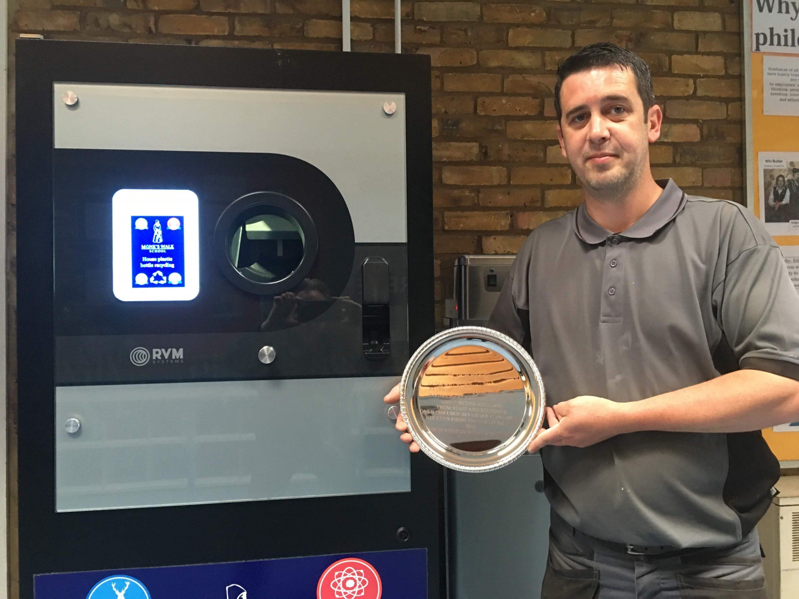 Monks Walk School Award for first School Deposit Return Scheme RVM in the UK