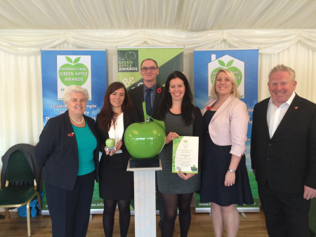 The Reverse Vending Team with their Green Apple Award at the Houses of Parliament award ceremony